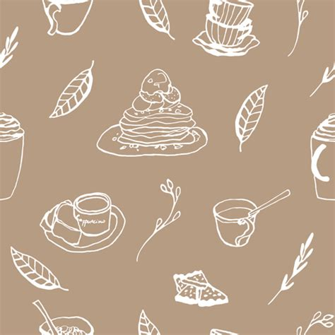 seamless pattern cake hand drawn coffee and cake seamless pattern vector 02