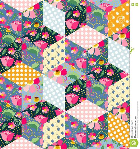 Patchwork Designs Patches - seamless pattern of quilt patchwork design stock