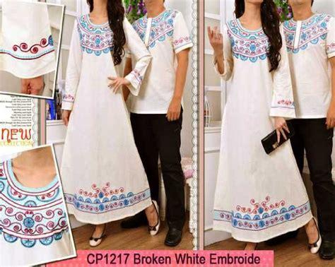 Baju Muslim Putih Tulang gamis white bordir cp1217 baju muslim katun