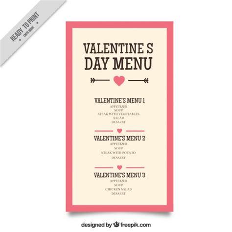 valentine vintage menu template vector free download