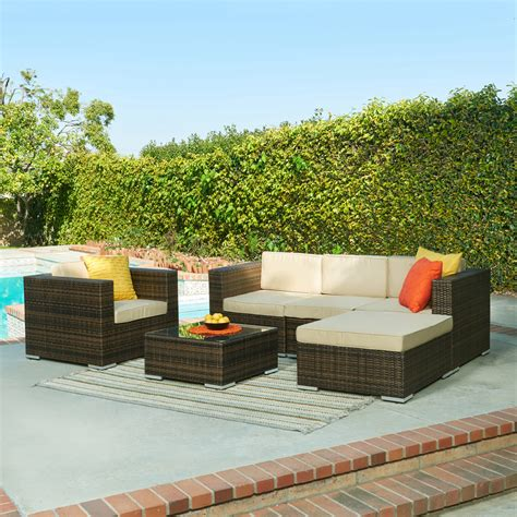 Hom Patio Furniture The Hom Caribe 4 All Weather Wicker Patio Seating Set Shop Your Way Shopping