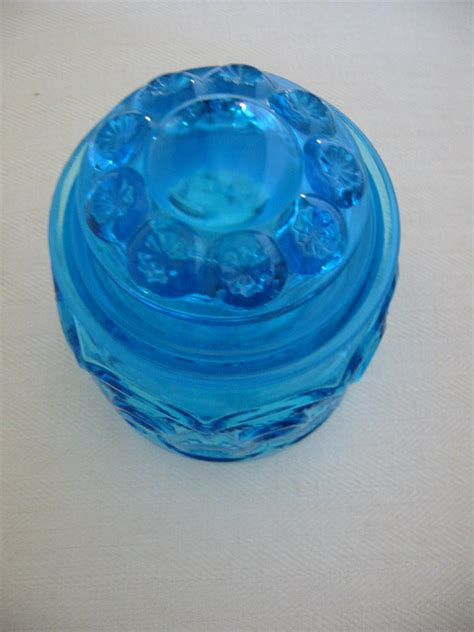 Blue Glass L by L E Smith Blue Glass Apothecary Lidded Jars Moon For