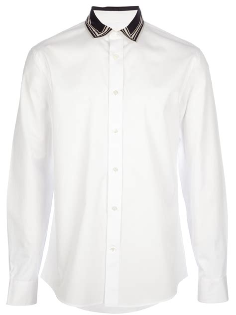 Contrast Collar Shirt mcqueen contrast collar shirt in white for