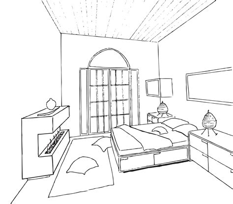 bedroom perspective drawing sketch coloring page