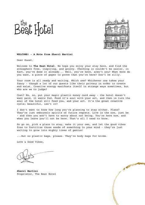Letter Hotel Welcome Letter To The Beat Hotel This Is Sherri Martini Flickr