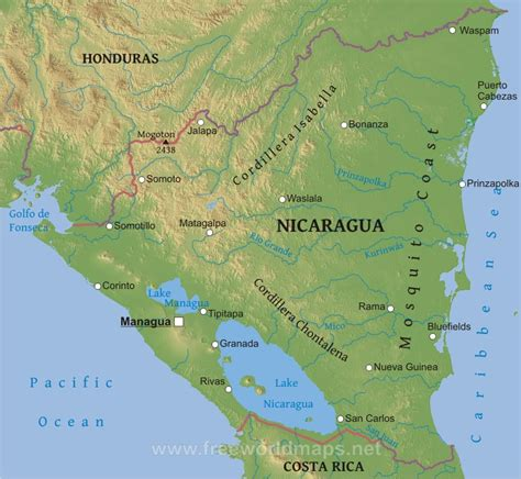physical map of nicaragua o where thou or where to live in nicaragua
