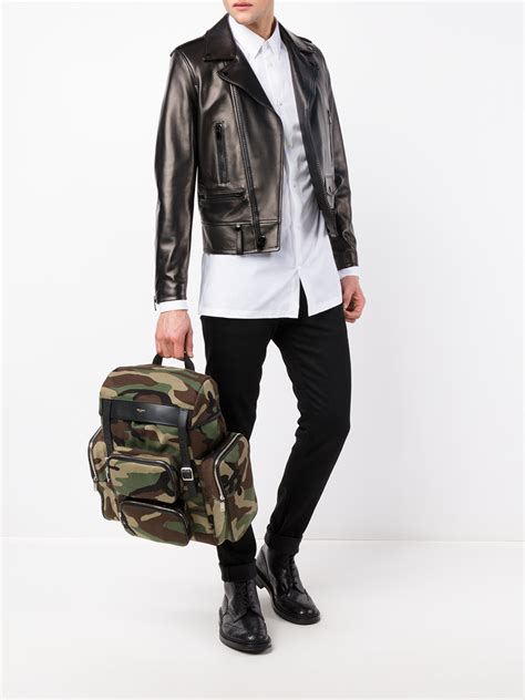 Camouflage Backpack lyst laurent camouflage backpack in green for