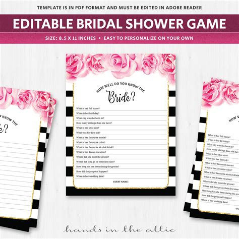 black and white printable bridal shower games fun bridal shower games know the bride black and white
