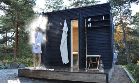 outdoor sauna steam and shower put on deck outside