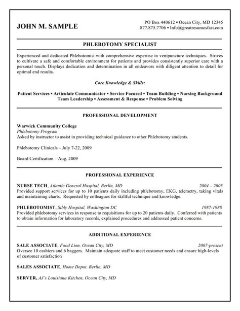 healthcare resume exles phlebotomist 28 images qualifications resume 50 phlebotomist resume
