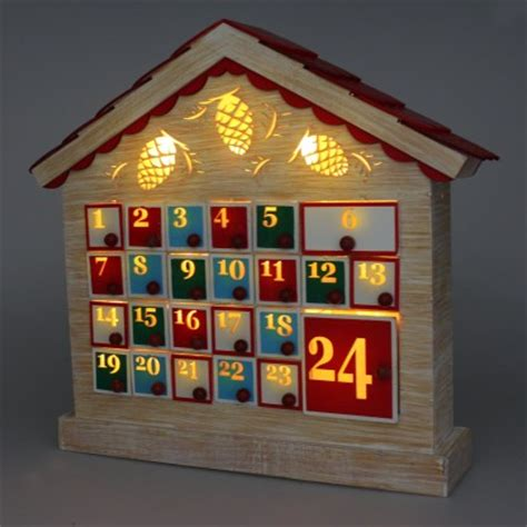 Wooden Advent Calendar House by Light Up Wooden Advent Calendar House