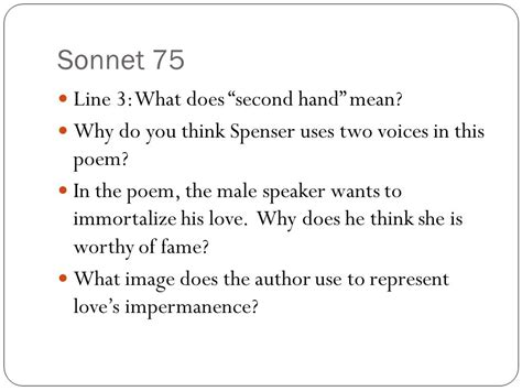what do the lines represent sonnets 30 and 75 the faerie queene ppt video online
