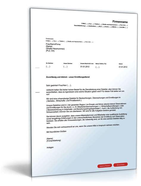 Anschreiben Adrebe Familie Werbebrief F 252 R Eine Detektei Vorlage Zum