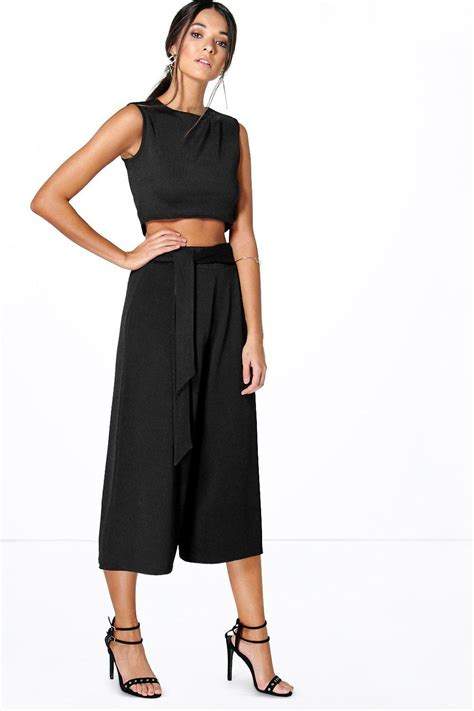 Spike Set Topculottes tie front culotte boxy top co ord set at boohoo