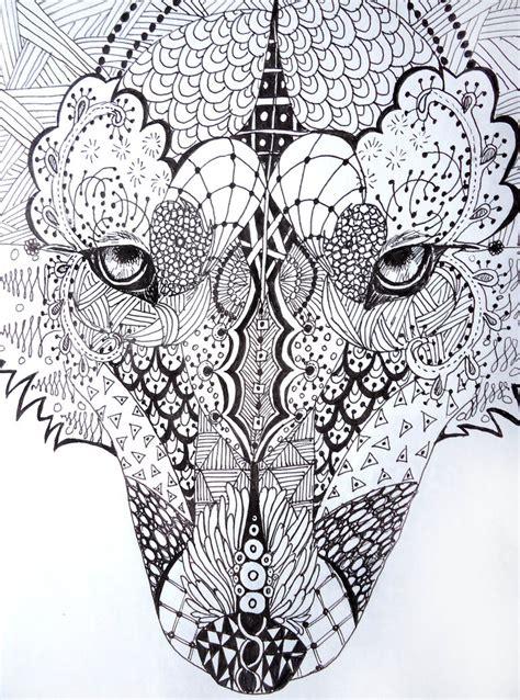 free printable zentangle art zentangle wolf by lupinemoonfeather on deviantart