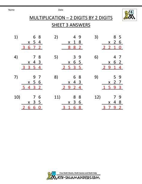 printable multiplication worksheets 2 digit by 2 digit multiplication sheets 4th grade