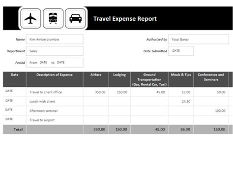 travel expense report office templates