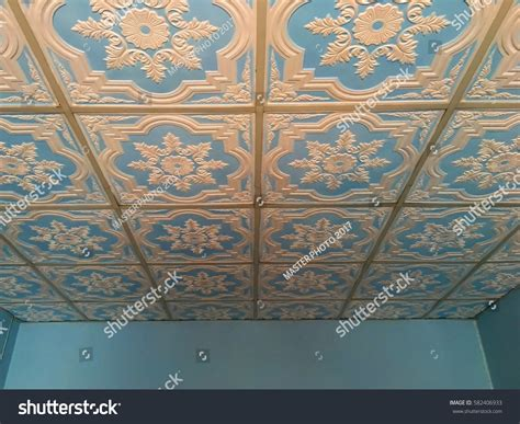 flower pattern on ceiling gypsum ceiling flower patterns stock photo 582406933