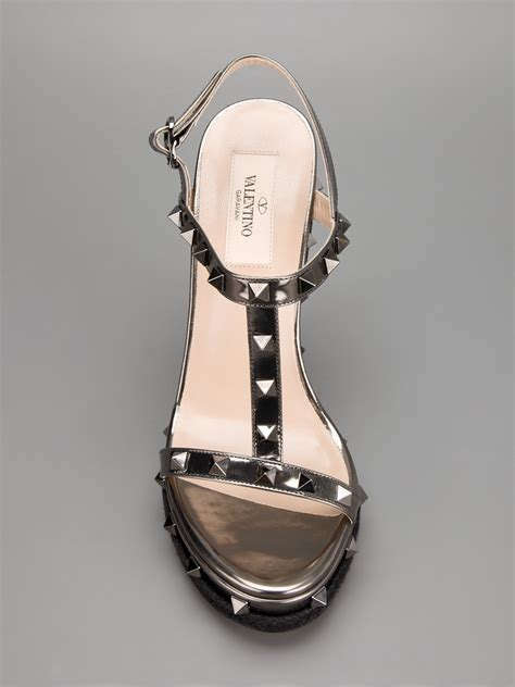 Valentino Studed valentino studded wedge sandal in black lyst