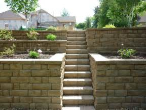 pretty much what we need for our retaining wall in the backyard tiered with stairs up the