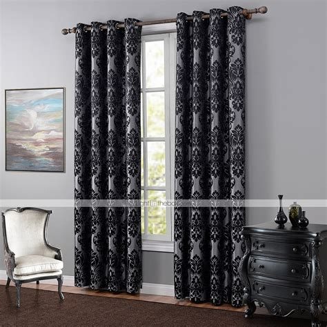 blackout bedroom curtains one panel european floral botanical black bedroom