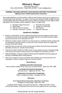 Mechanic Resume Exle by Automotive Mechanic Resume Exle Sle