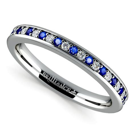 pave sapphire wedding ring in white gold