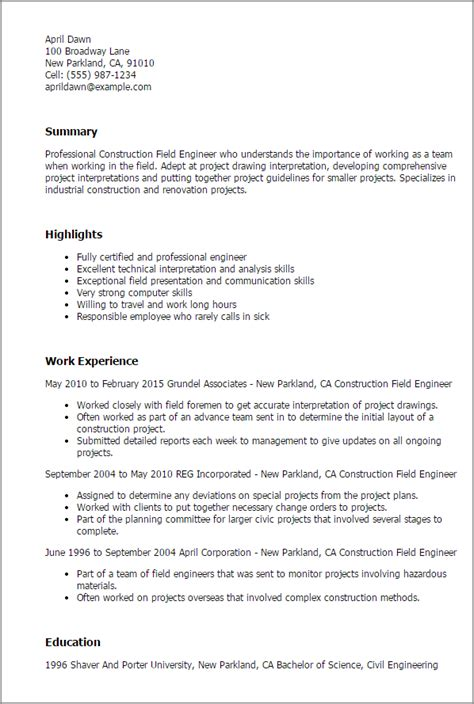 field resume templates professional construction field engineer templates to