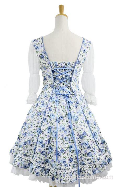 Dress Cotton Sweet Blue D203c3 sweet blue floral sleeves lace trim cotton dress