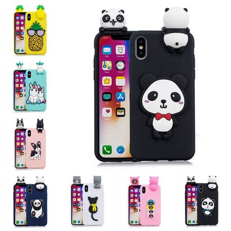 3d for iphone 8 plus 7 6 6s 5g 5s panda unicorn animal phone tpu rubber back cover