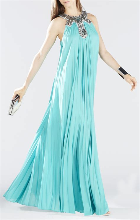 dress with beaded neckline nailah beaded neckline pleated gown