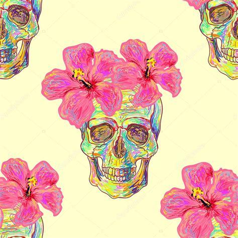 imagenes sin fondo de flores patr 243 n sin fisuras con calaveras y flores de hibisco