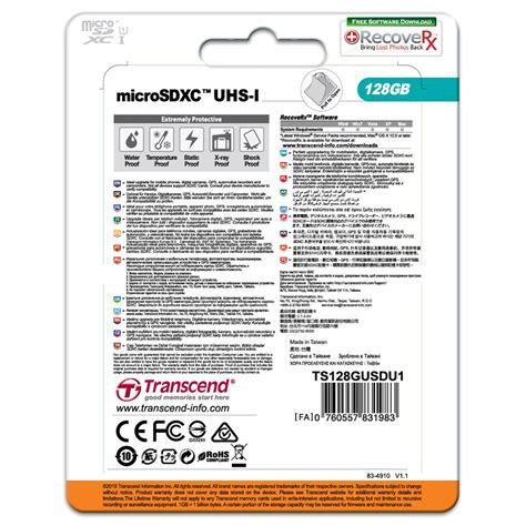 Transcend Microsdhc Uhs 1 Premium Class 10 Max Up To 20mbs 4 Gb transcend microsdxc 128gb class10 uhs i premium 400x