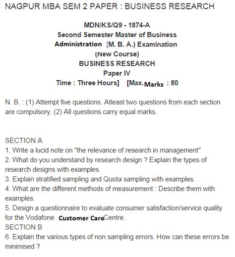 Mba Second Semester Question Papers Pune by Nagpur Mba Ii Semester Business Research 2010