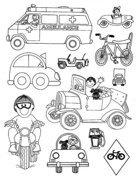 transportation coloring pages for kindergarten ambulance car bicycle motorcycle coloring pages for