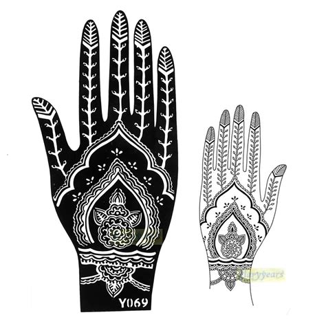 henna tattoo hand schablone zum ausdrucken aliexpress buy 1pc new glitter flower mehndi henna