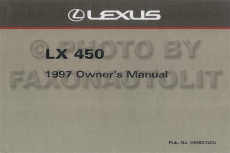 manual repair autos 1997 lexus lx on board diagnostic system 1997 lexus lx 450 owners manual factory reprint