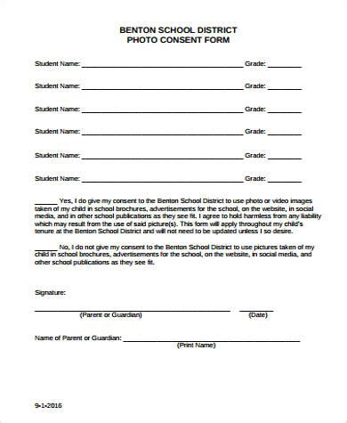 9 Photo Consent Form Sles Sle Templates Photo And Consent Form Template