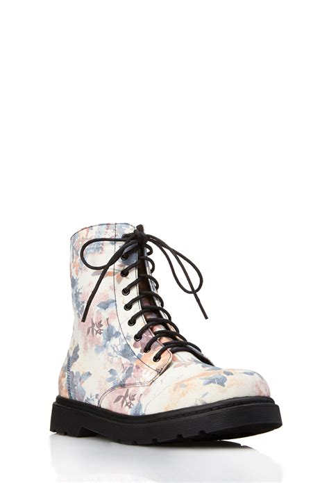 forever 21 shoes boots forever 21 floral frenzy combat boots in white lyst
