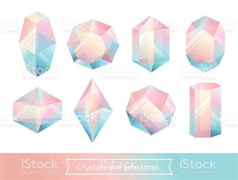 Geometric Gems by Set Of Geometric Crystals Gem And Minerals Stock Vector