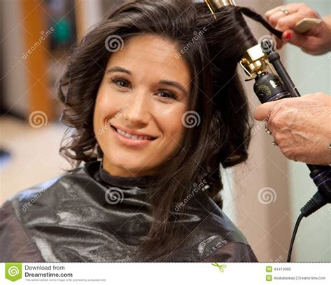 Gets Hair Done by Getting Hair Done On Wedding Day Stock Photo Image