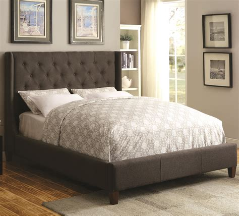 tufted headboard king bed coaster upholstered beds 300453ke upholstered king bed