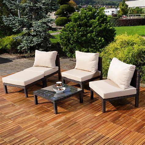 ottomane tisch polyrattan lounge schwarz braun sitzgarnitur sitzgruppe