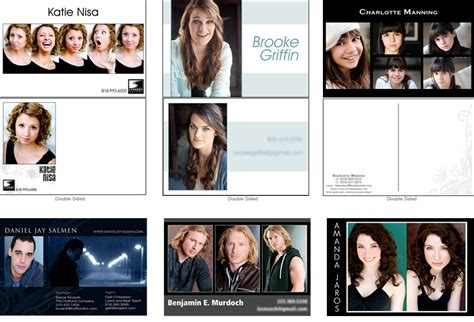 Actor Comp Card Templates by Acting Modeling Post Card Zed Card Business Card