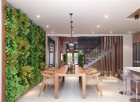 Impressionnant Table De Salle A Manger Moderne #3: table-chaises-salle-manger-bois-mur-végétal-intérieur.jpg