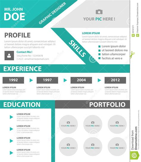 green smart creative resume business profile cv vitae template layout flat design for