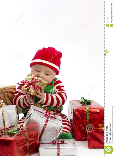how to take baby frist christmas pictures babys present stock photo image 16752682