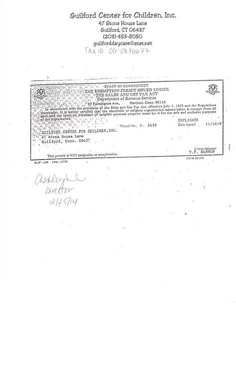 tax exempt certificate   connecticut science center