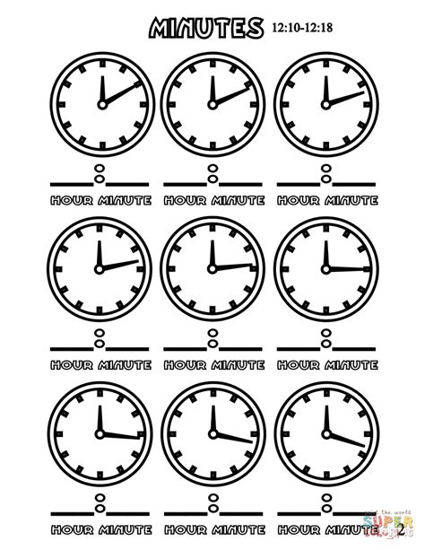 printable clock puzzle minutes 12 10 12 18 coloring page free printable