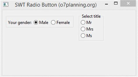 tutorial html radio button java swt radio button tutorial